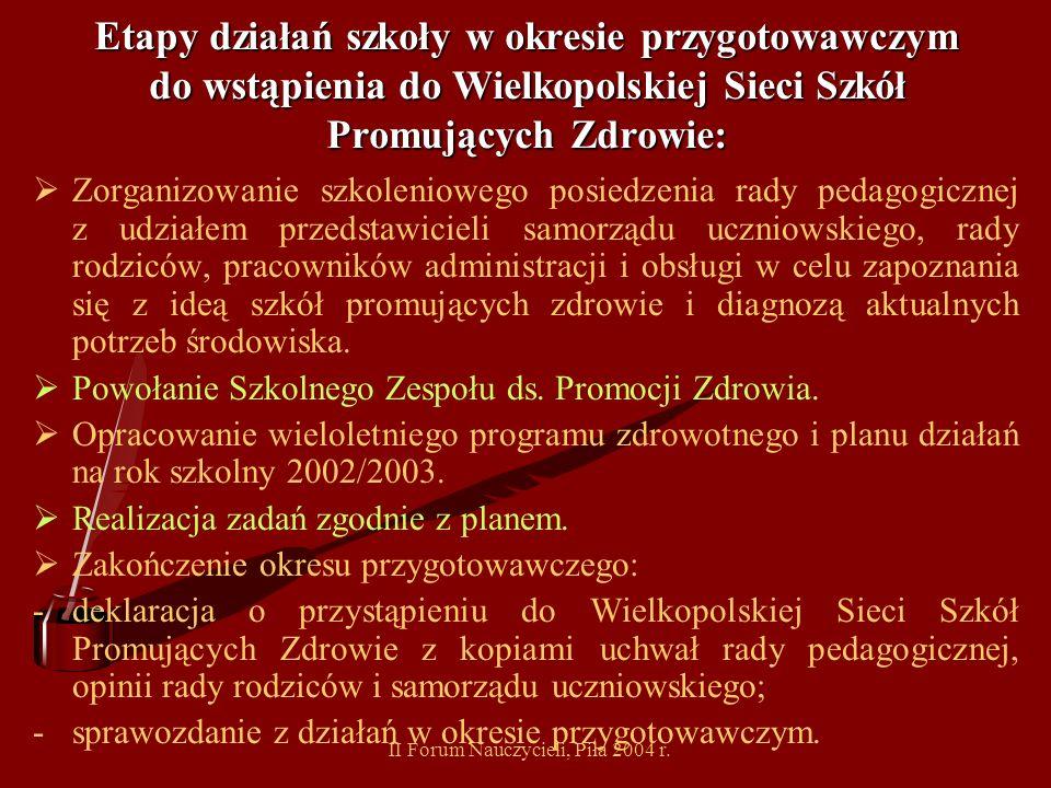 II Forum Nauczycieli, Piła 2004 r. Etapy działań szkoły w okresie przygotowawczym do wstąpienia do Wielkopolskiej Sieci Szkół Promujących Zdrowie: Kie