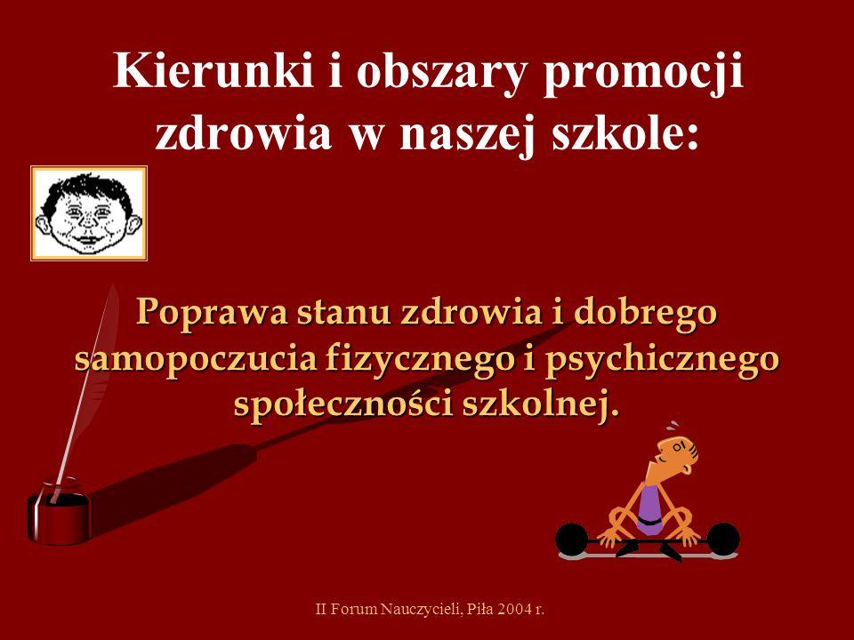 II Forum Nauczycieli, Piła 2004 r. Etapy działań szkoły w okresie przygotowawczym do wstąpienia do Wielkopolskiej Sieci Szkół Promujących Zdrowie: Wiz