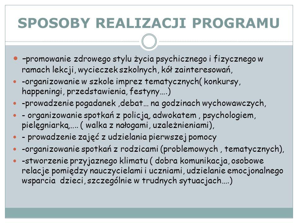 SPOSOBY REALIZACJI PROGRAMU - promowanie zdrowego stylu życia psychicznego i fizycznego w ramach lekcji, wycieczek szkolnych, kół zainteresowań, -orga
