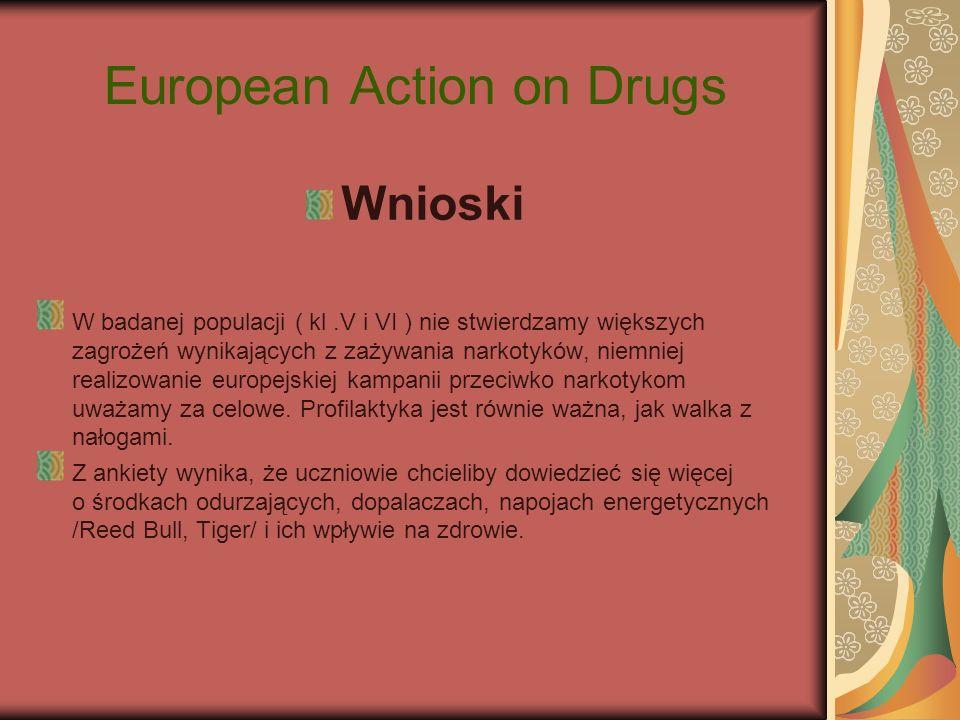 European Action on Drugs Wnioski W badanej populacji ( kl.V i VI ) nie stwierdzamy większych zagrożeń wynikających z zażywania narkotyków, niemniej re
