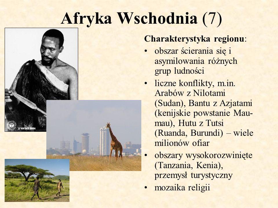 Afryka Wschodnia (7) Charakterystyka regionu: obszar ścierania się i asymilowania różnych grup ludności liczne konflikty, m.in. Arabów z Nilotami (Sud