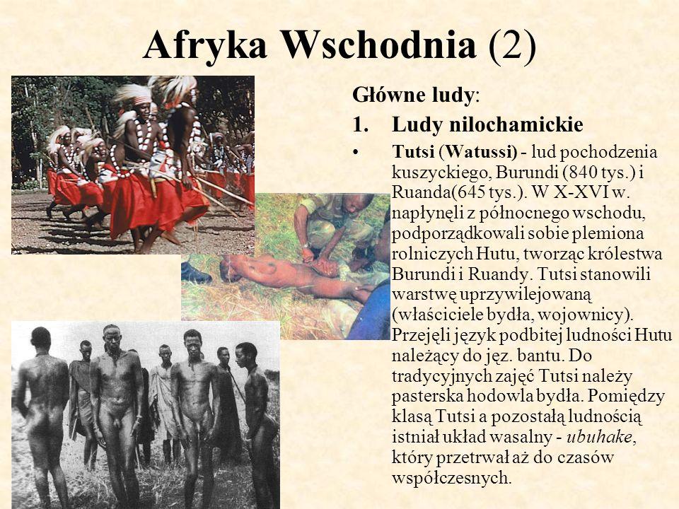 Afryka Wschodnia (2) Główne ludy: 1.Ludy nilochamickie Tutsi (Watussi) - lud pochodzenia kuszyckiego, Burundi (840 tys.) i Ruanda(645 tys.). W X-XVI w