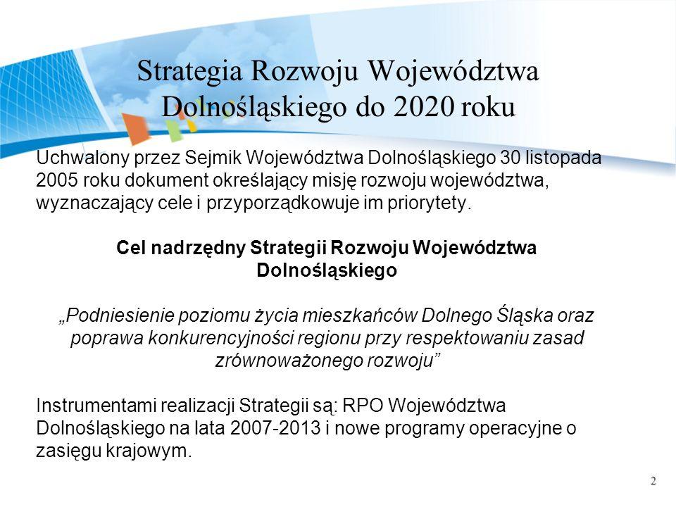3 Regionalny Program Operacyjny Województwa Dolnośląskiego Celem głównym RPO WD jest podniesienie poziomu życia mieszkańców Dolnego Śląska oraz poprawa konkurencyjności regionu przy respektowaniu zasad zrównoważonego rozwoju.