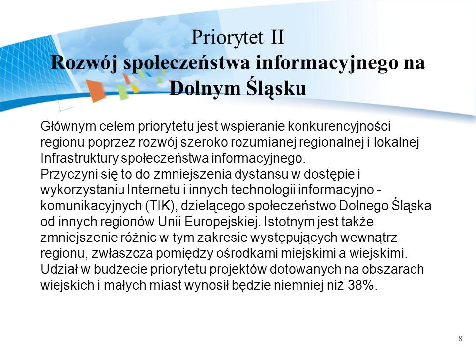 8 Priorytet II Rozwój społeczeństwa informacyjnego na Dolnym Śląsku Głównym celem priorytetu jest wspieranie konkurencyjności regionu poprzez rozwój szeroko rozumianej regionalnej i lokalnej Infrastruktury społeczeństwa informacyjnego.