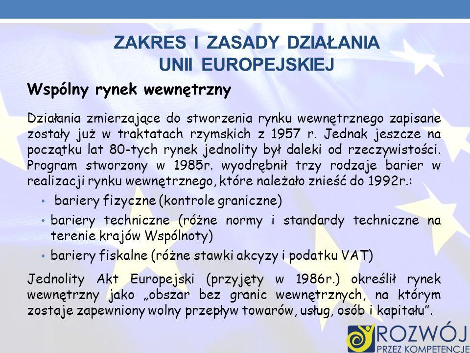ZAKRES I ZASADY DZIAŁANIA UNII EUROPEJSKIEJ Wspólny rynek wewnętrzny Działania zmierzające do stworzenia rynku wewnętrznego zapisane zostały już w tra