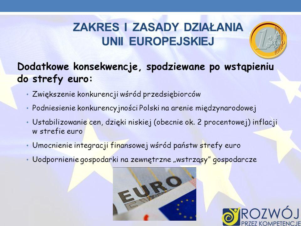 ZAKRES I ZASADY DZIAŁANIA UNII EUROPEJSKIEJ Dodatkowe konsekwencje, spodziewane po wstąpieniu do strefy euro: Zwiększenie konkurencji wśród przedsiębi