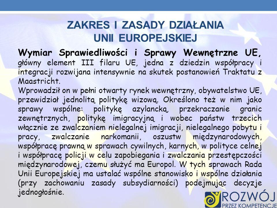 ZAKRES I ZASADY DZIAŁANIA UNII EUROPEJSKIEJ Wymiar Sprawiedliwości i Sprawy Wewnętrzne UE, główny element III filaru UE, jedna z dziedzin współpracy i