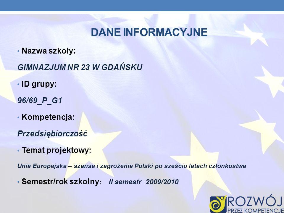 DANE INFORMACYJNE Nazwa szkoły: GIMNAZJUM NR 23 W GDAŃSKU ID grupy: 96/69_P_G1 Kompetencja: Przedsiębiorczość Temat projektowy: Unia Europejska – szan