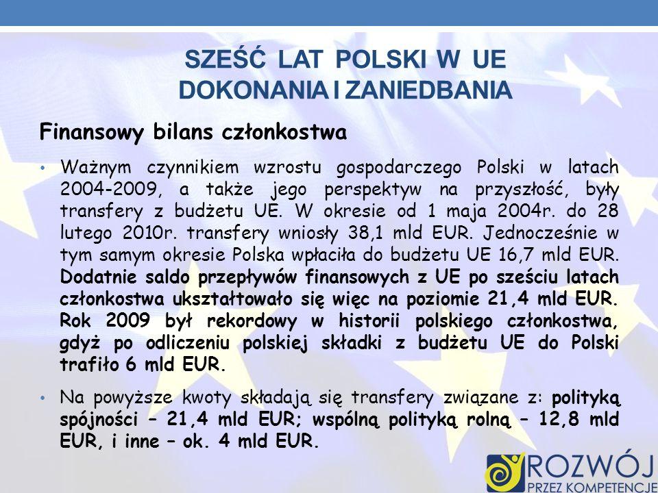 SZEŚĆ LAT POLSKI W UE DOKONANIA I ZANIEDBANIA Finansowy bilans członkostwa Ważnym czynnikiem wzrostu gospodarczego Polski w latach 2004-2009, a także