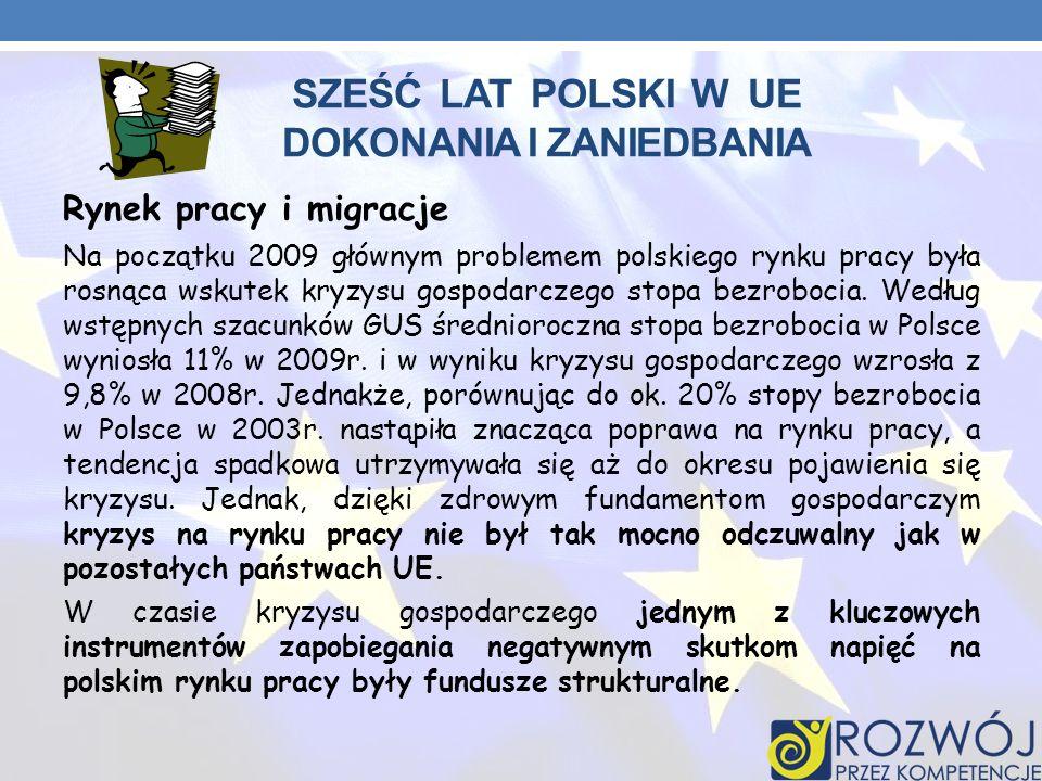 SZEŚĆ LAT POLSKI W UE DOKONANIA I ZANIEDBANIA Rynek pracy i migracje Na początku 2009 głównym problemem polskiego rynku pracy była rosnąca wskutek kry