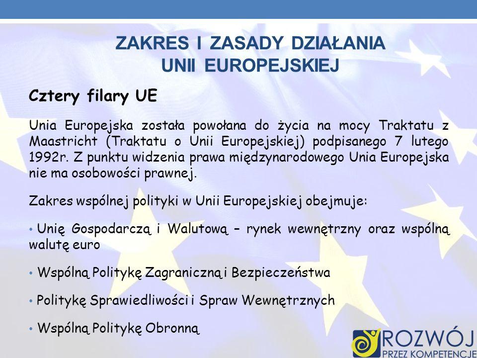 ZAKRES I ZASADY DZIAŁANIA UNII EUROPEJSKIEJ Cztery filary UE Unia Europejska została powołana do życia na mocy Traktatu z Maastricht (Traktatu o Unii