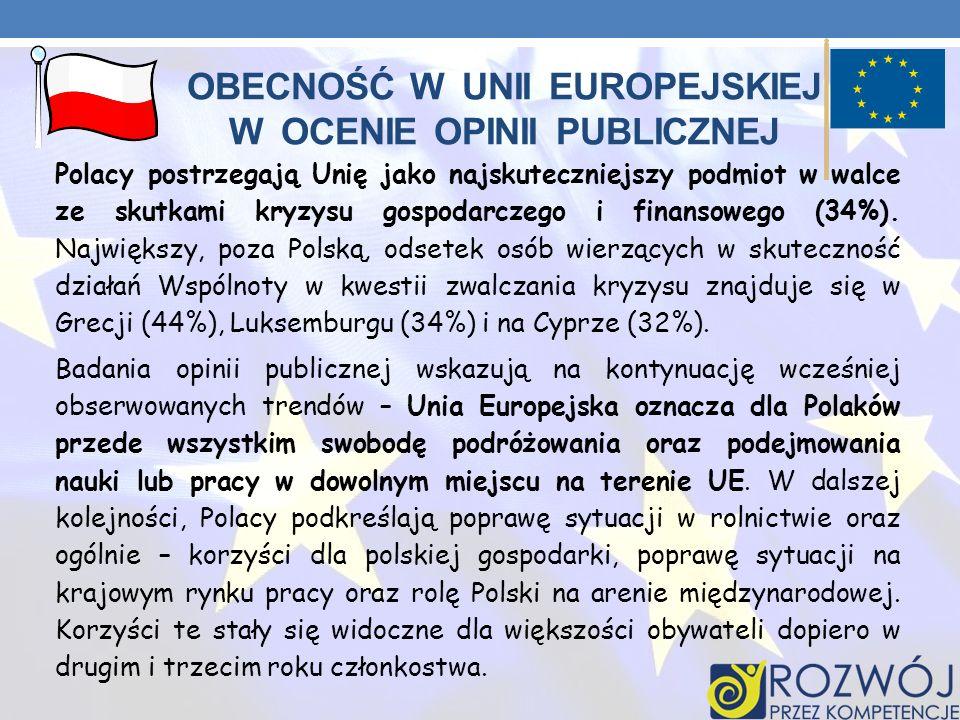 OBECNOŚĆ W UNII EUROPEJSKIEJ W OCENIE OPINII PUBLICZNEJ Polacy postrzegają Unię jako najskuteczniejszy podmiot w walce ze skutkami kryzysu gospodarcze