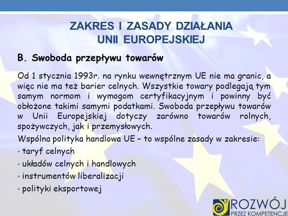 ZAKRES I ZASADY DZIAŁANIA UNII EUROPEJSKIEJ B.Swoboda przepływu towarów Od 1 stycznia 1993r. na rynku wewnętrznym UE nie ma granic, a więc nie ma też