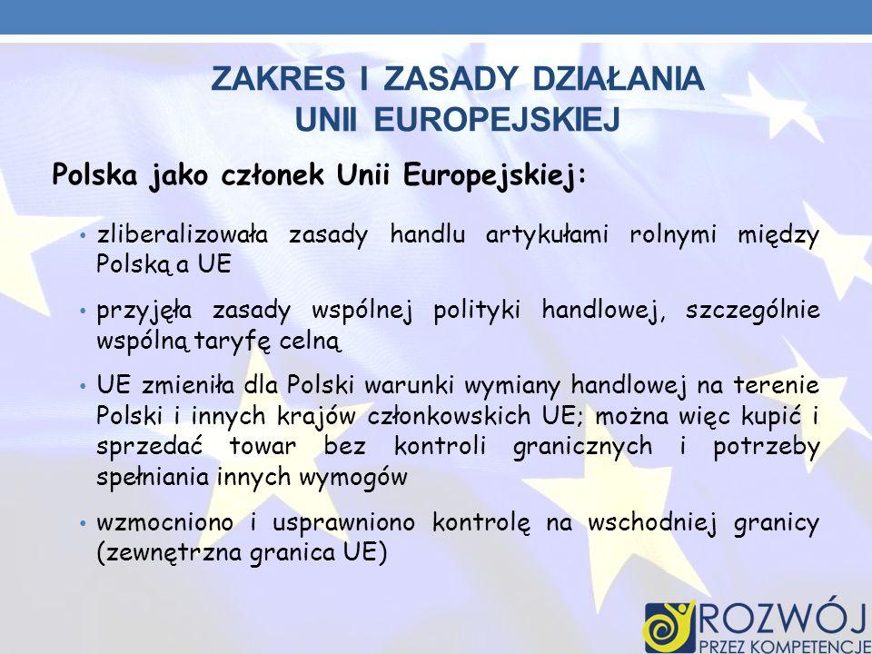 ZAKRES I ZASADY DZIAŁANIA UNII EUROPEJSKIEJ Polska jako członek Unii Europejskiej: zliberalizowała zasady handlu artykułami rolnymi między Polską a UE