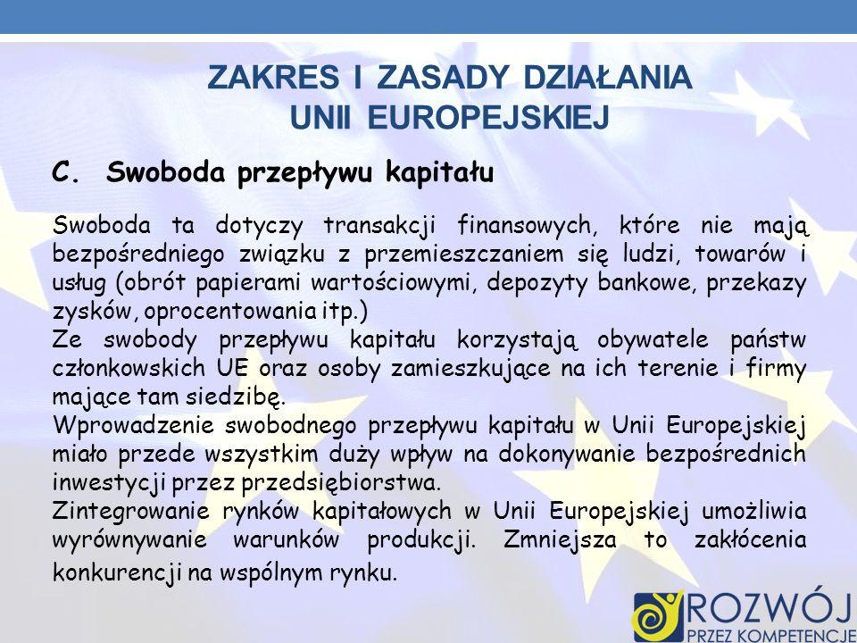 ZAKRES I ZASADY DZIAŁANIA UNII EUROPEJSKIEJ C. Swoboda przepływu kapitału Swoboda ta dotyczy transakcji finansowych, które nie mają bezpośredniego zwi