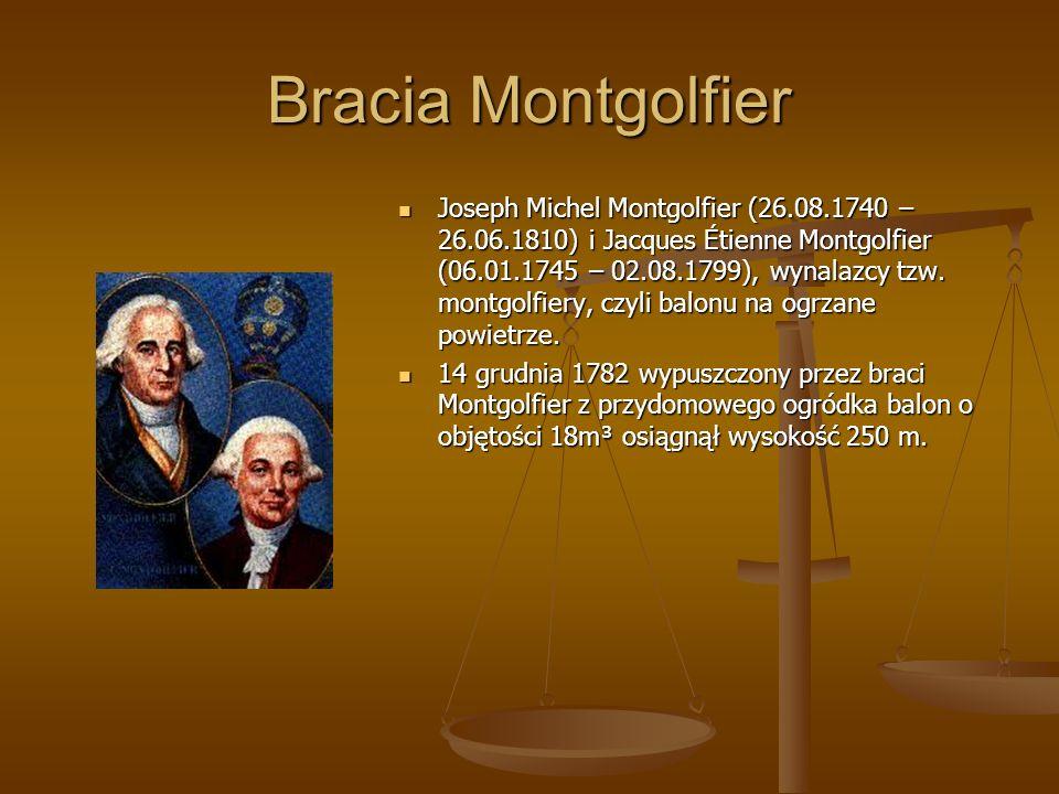 Bracia Montgolfier Joseph Michel Montgolfier (26.08.1740 – 26.06.1810) i Jacques Étienne Montgolfier (06.01.1745 – 02.08.1799), wynalazcy tzw. montgol