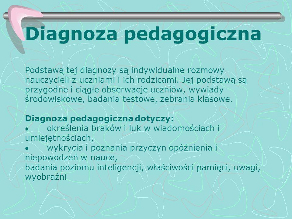 Diagnoza pedagogiczna Podstawą tej diagnozy są indywidualne rozmowy nauczycieli z uczniami i ich rodzicami. Jej podstawą są przygodne i ciągłe obserwa