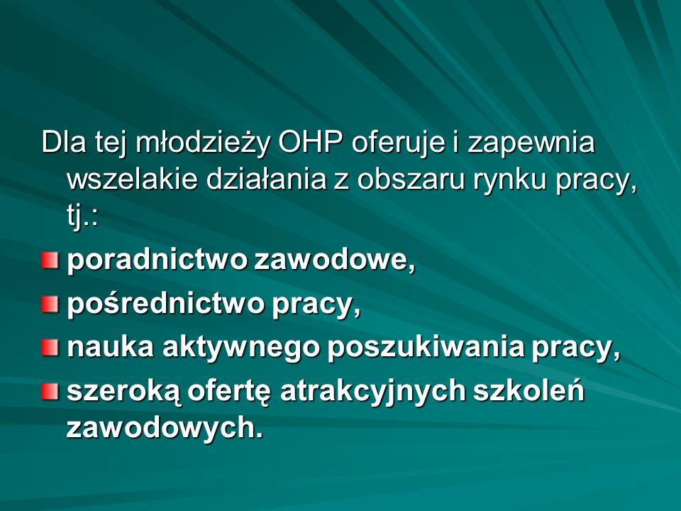 Dla tej młodzieży OHP oferuje i zapewnia wszelakie działania z obszaru rynku pracy, tj.: poradnictwo zawodowe, pośrednictwo pracy, nauka aktywnego pos