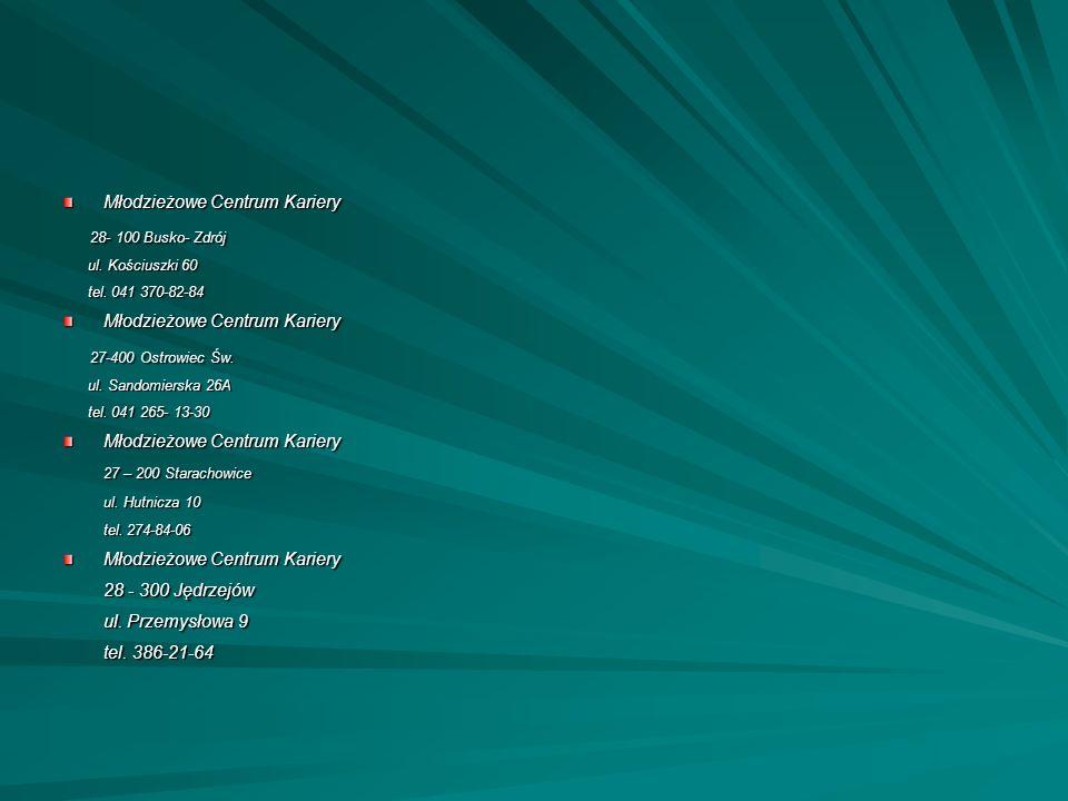 Młodzieżowe Centrum Kariery 28- 100 Busko- Zdrój 28- 100 Busko- Zdrój ul. Kościuszki 60 ul. Kościuszki 60 tel. 041 370-82-84 tel. 041 370-82-84 Młodzi