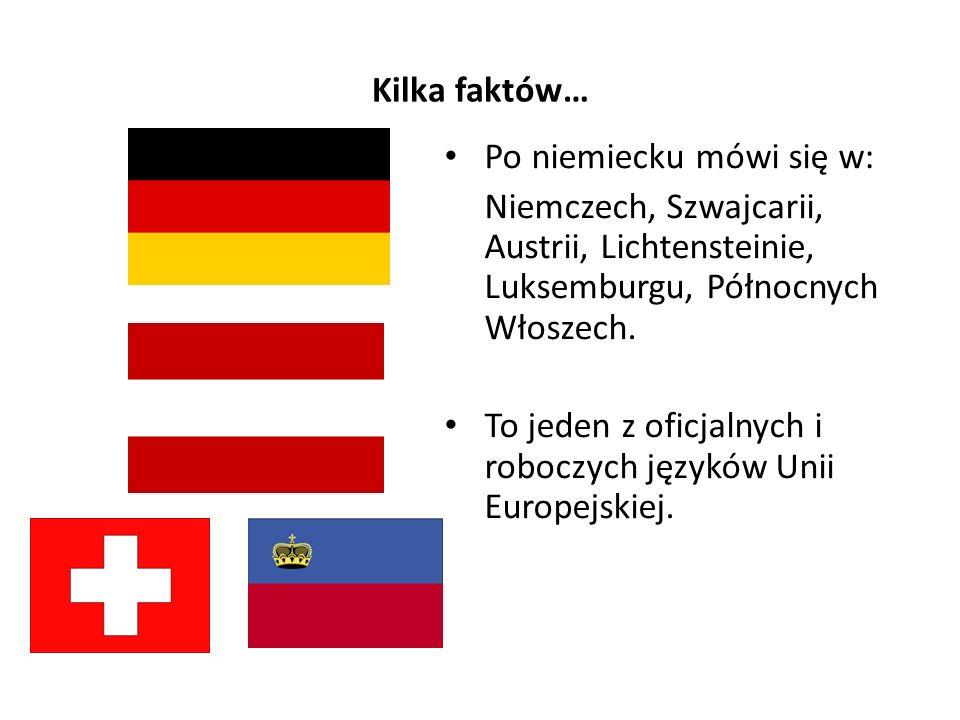 Kilka faktów… Po niemiecku mówi się w: Niemczech, Szwajcarii, Austrii, Lichtensteinie, Luksemburgu, Północnych Włoszech. To jeden z oficjalnych i robo
