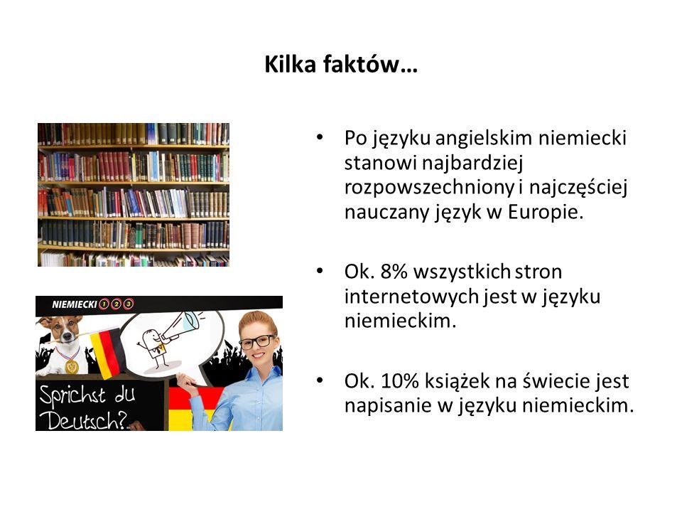 Kilka faktów… Po języku angielskim niemiecki stanowi najbardziej rozpowszechniony i najczęściej nauczany język w Europie. Ok. 8% wszystkich stron inte