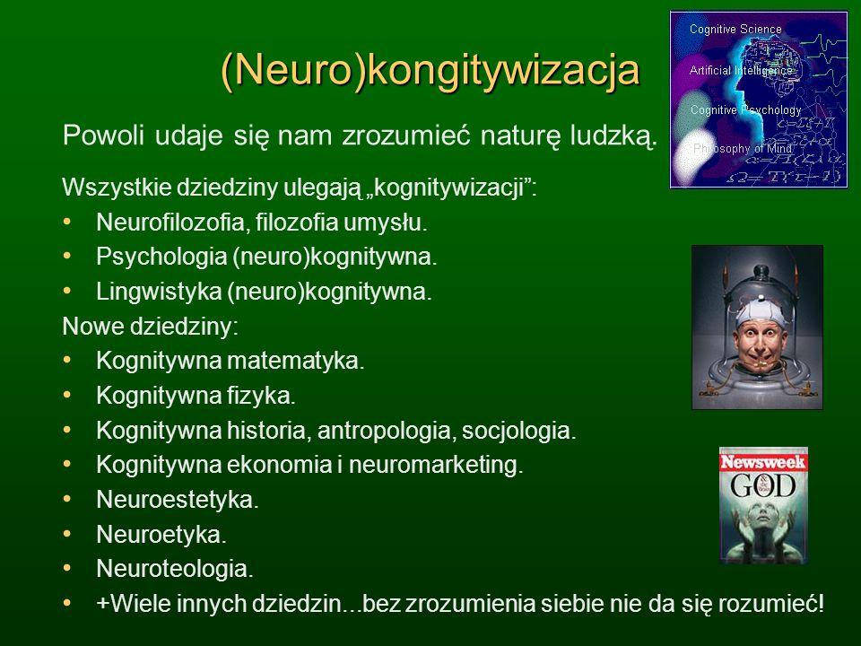 (Neuro)kongitywizacja Powoli udaje się nam zrozumieć naturę ludzką. Wszystkie dziedziny ulegają kognitywizacji: Neurofilozofia, filozofia umysłu. Psyc