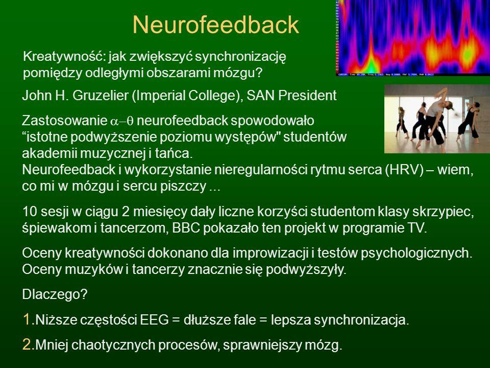 Neurofeedback Kreatywność: jak zwiększyć synchronizację pomiędzy odległymi obszarami mózgu? John H. Gruzelier (Imperial College), SAN President Zastos