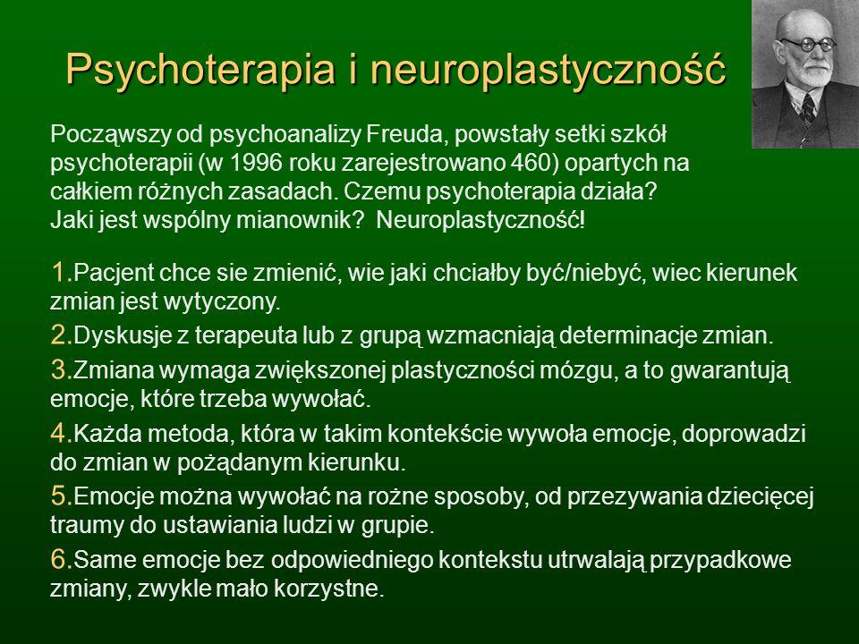 Psychoterapia i neuroplastyczność Począwszy od psychoanalizy Freuda, powstały setki szkół psychoterapii (w 1996 roku zarejestrowano 460) opartych na c