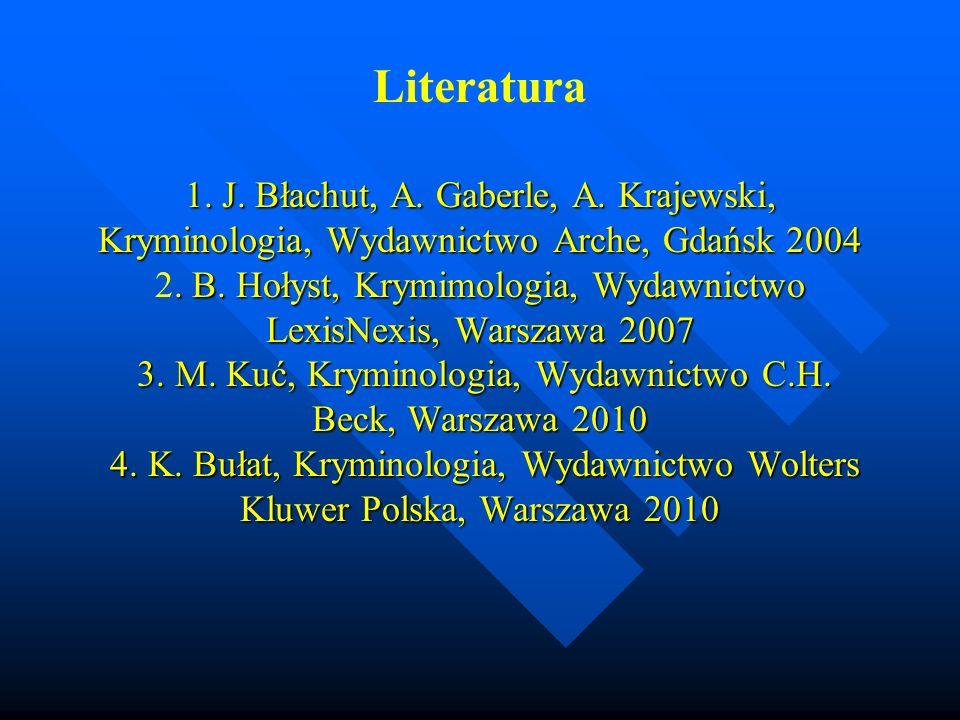 1. J. Błachut, A. Gaberle, A. Krajewski, Kryminologia, Wydawnictwo Arche, Gdańsk 2004. B. Hołyst, Krymimologia, Wydawnictwo LexisNexis, Warszawa 2007