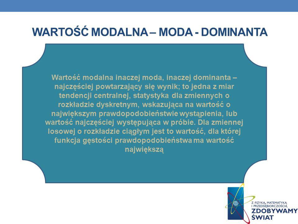 WARTOŚĆ MODALNA – MODA - DOMINANTA Wartość modalna inaczej moda, inaczej dominanta – najczęściej powtarzający się wynik; to jedna z miar tendencji cen