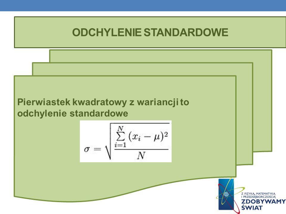 ODCHYLENIE STANDARDOWE Pierwiastek kwadratowy z wariancji to odchylenie standardowe
