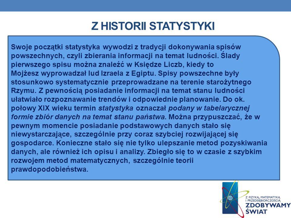 Z HISTORII STATYSTYKI Swoje początki statystyka wywodzi z tradycji dokonywania spisów powszechnych, czyli zbierania informacji na temat ludności. Ślad