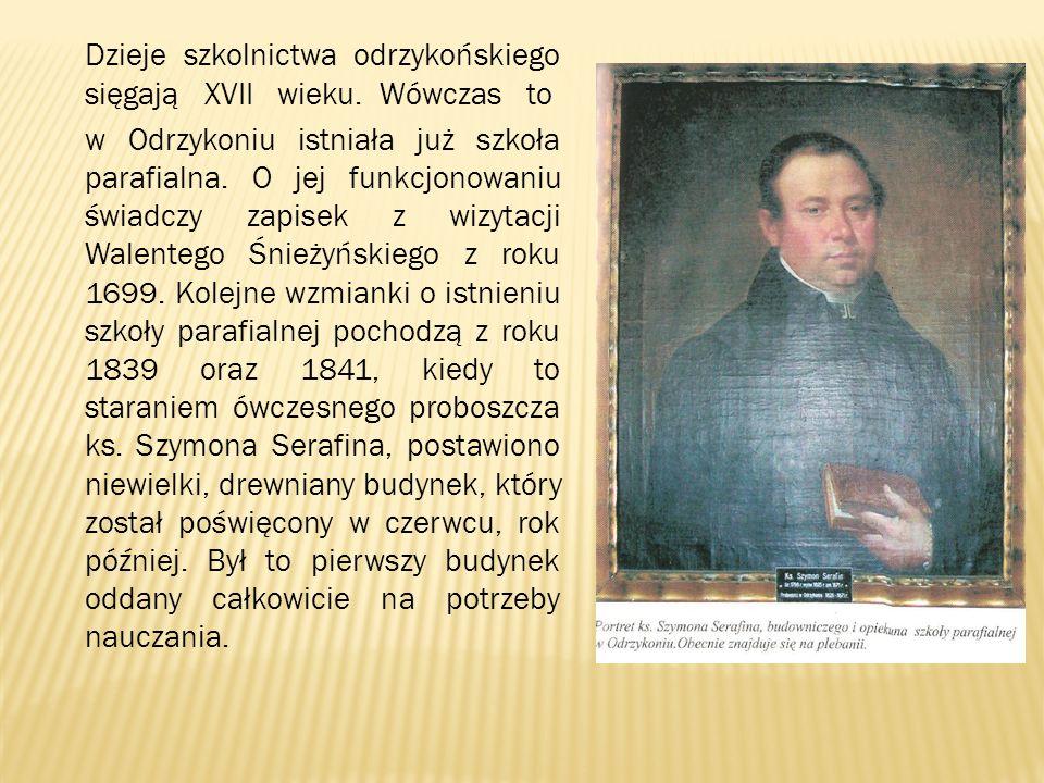 Dzieje szkolnictwa odrzykońskiego sięgają XVII wieku. Wówczas to w Odrzykoniu istniała już szkoła parafialna. O jej funkcjonowaniu świadczy zapisek z