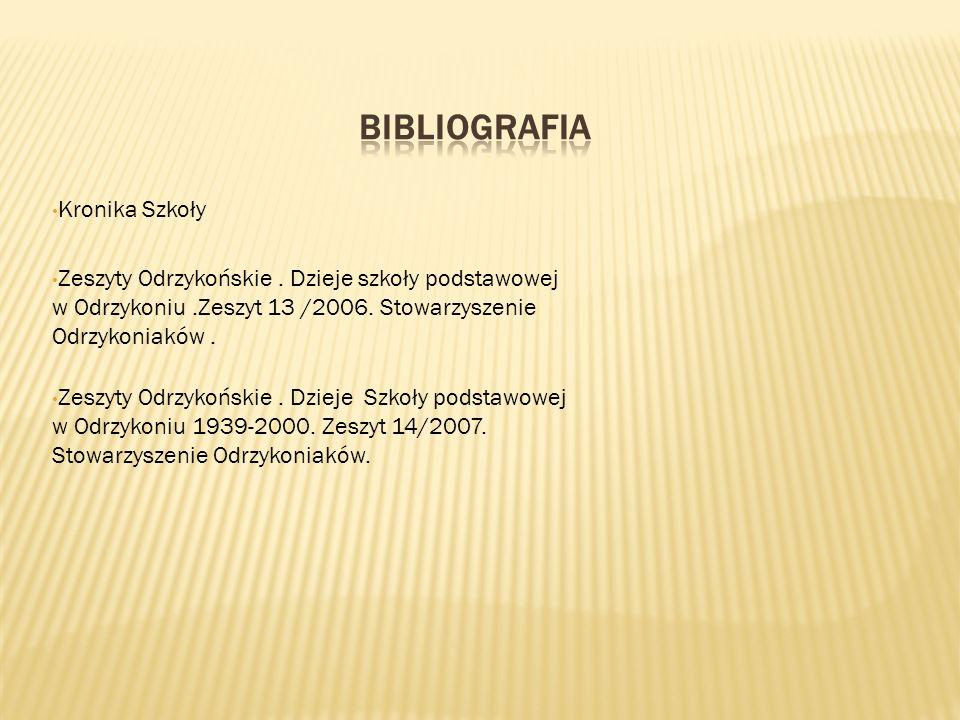Kronika Szkoły Zeszyty Odrzykońskie. Dzieje szkoły podstawowej w Odrzykoniu.Zeszyt 13 /2006. Stowarzyszenie Odrzykoniaków. Zeszyty Odrzykońskie. Dziej