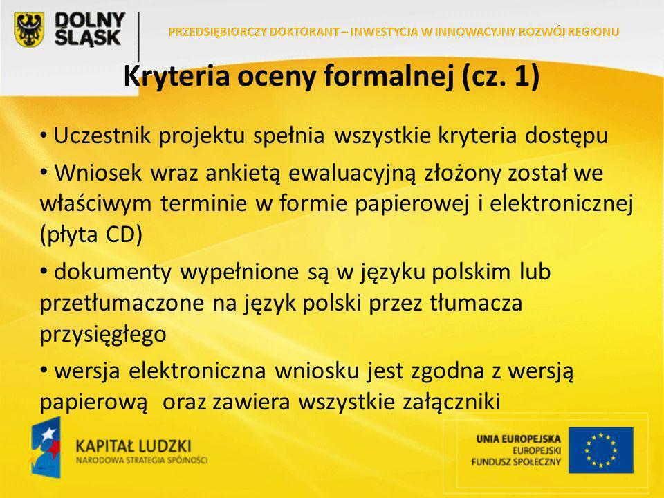 Kryteria oceny formalnej (cz.