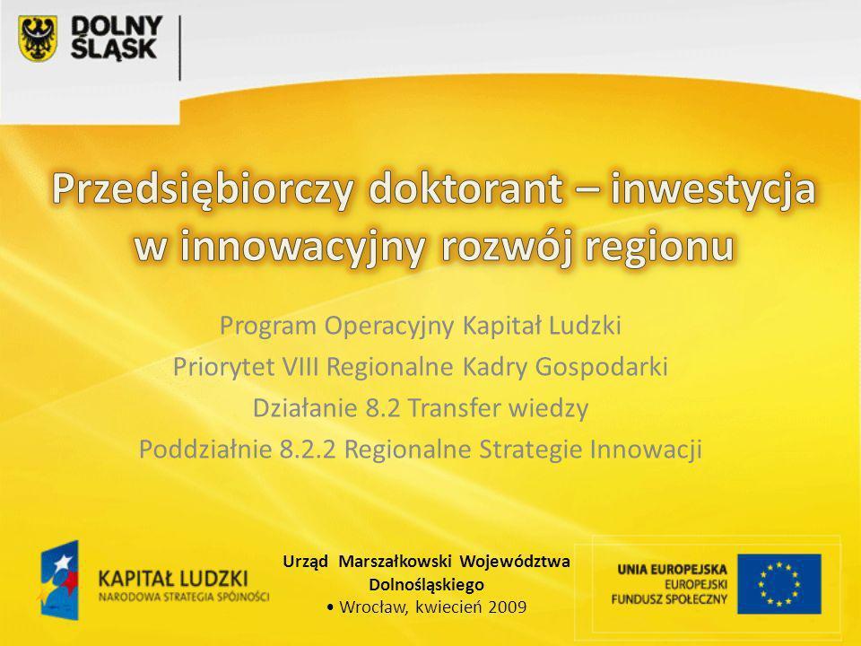 Program Operacyjny Kapitał Ludzki Priorytet VIII Regionalne Kadry Gospodarki Działanie 8.2 Transfer wiedzy Poddziałnie 8.2.2 Regionalne Strategie Innowacji Urząd Marszałkowski Województwa Dolnośląskiego Wrocław, kwiecień 2009