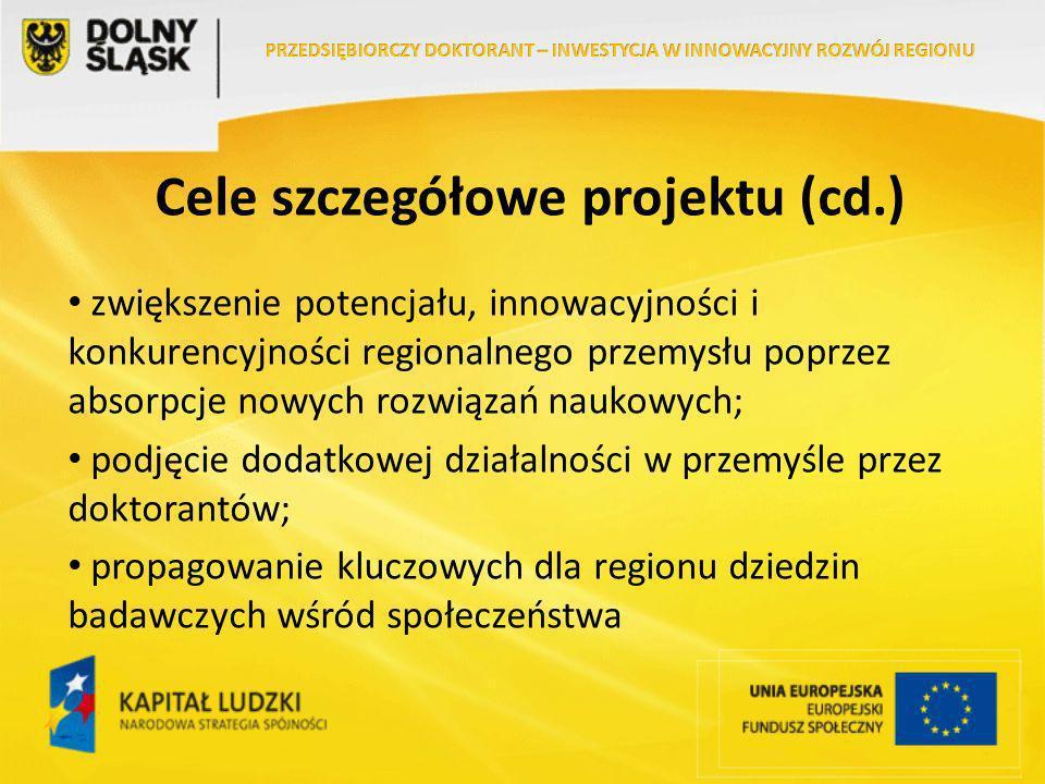Cele szczegółowe projektu (cd.) zwiększenie potencjału, innowacyjności i konkurencyjności regionalnego przemysłu poprzez absorpcje nowych rozwiązań naukowych; podjęcie dodatkowej działalności w przemyśle przez doktorantów; propagowanie kluczowych dla regionu dziedzin badawczych wśród społeczeństwa