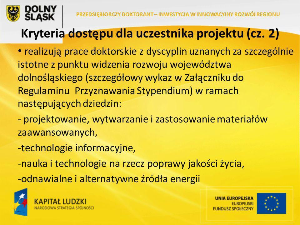 Kryteria dostępu dla uczestnika projektu (cz.