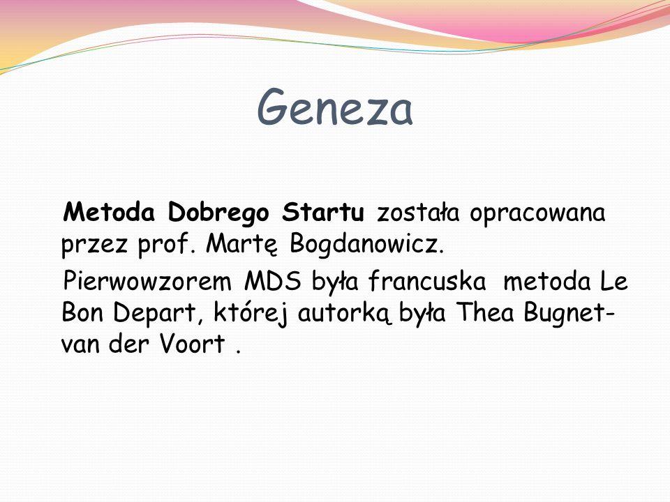 Geneza Metoda Dobrego Startu została opracowana przez prof. Martę Bogdanowicz. Pierwowzorem MDS była francuska metoda Le Bon Depart, której autorką by