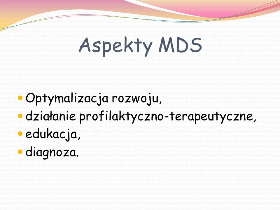Aspekty MDS Optymalizacja rozwoju, działanie profilaktyczno-terapeutyczne, edukacja, diagnoza.