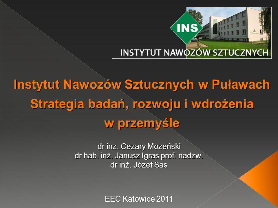 EEC Katowice 2011 dr inż. Cezary Możeński dr hab. inż. Janusz Igras prof. nadzw. dr inż. Józef Sas Instytut Nawozów Sztucznych w Puławach Strategia ba