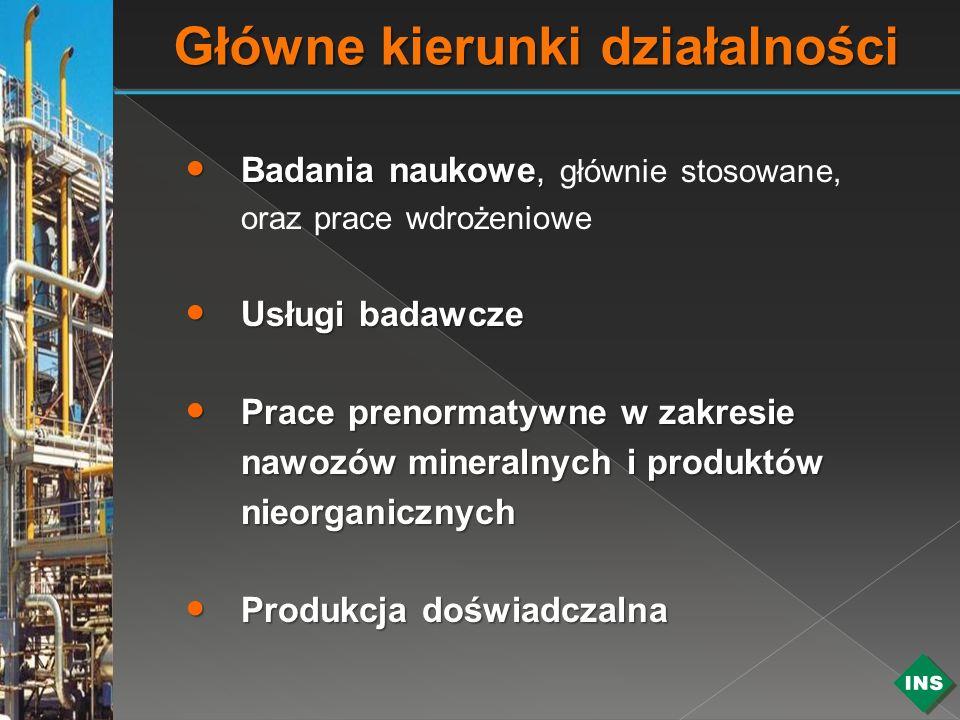Badania naukowe, Badania naukowe, głównie stosowane, oraz prace wdrożeniowe Usługi badawcze Usługi badawcze Prace prenormatywne w zakresie nawozów min