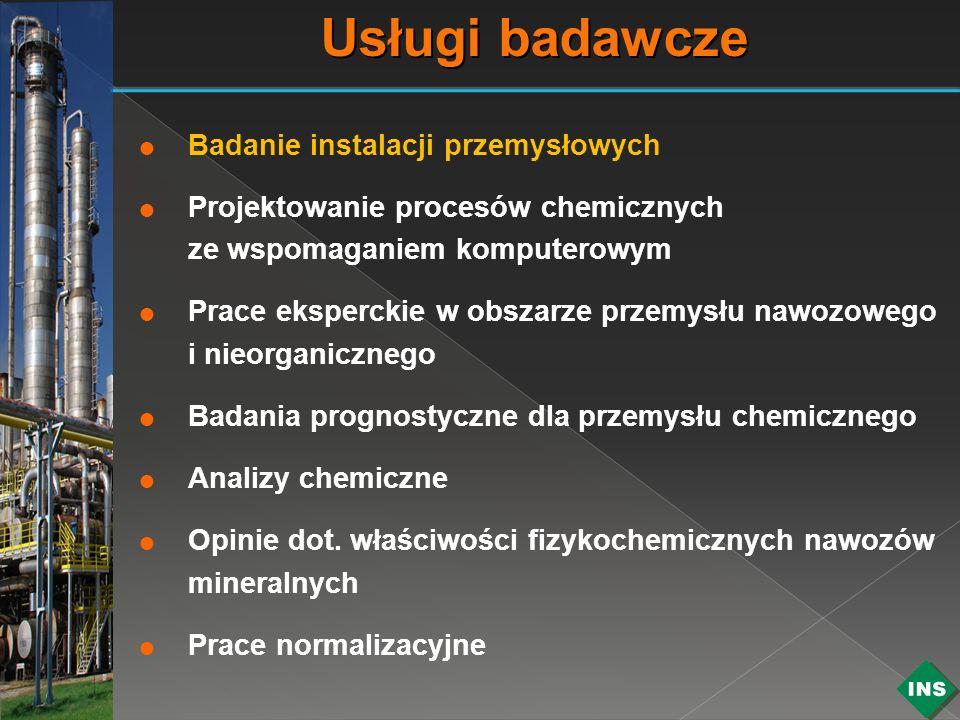 Badanie instalacji przemysłowych Projektowanie procesów chemicznych ze wspomaganiem komputerowym Prace eksperckie w obszarze przemysłu nawozowego i ni