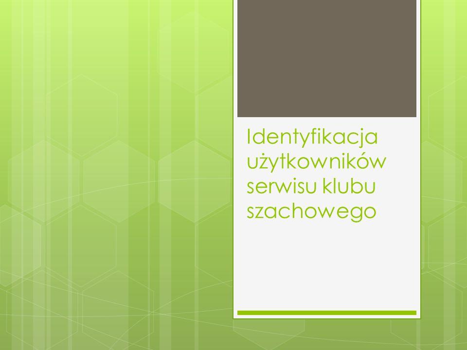 Identyfikacja użytkowników serwisu klubu szachowego