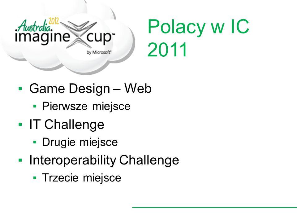 Polacy w IC 2011 Game Design – Web Pierwsze miejsce IT Challenge Drugie miejsce Interoperability Challenge Trzecie miejsce