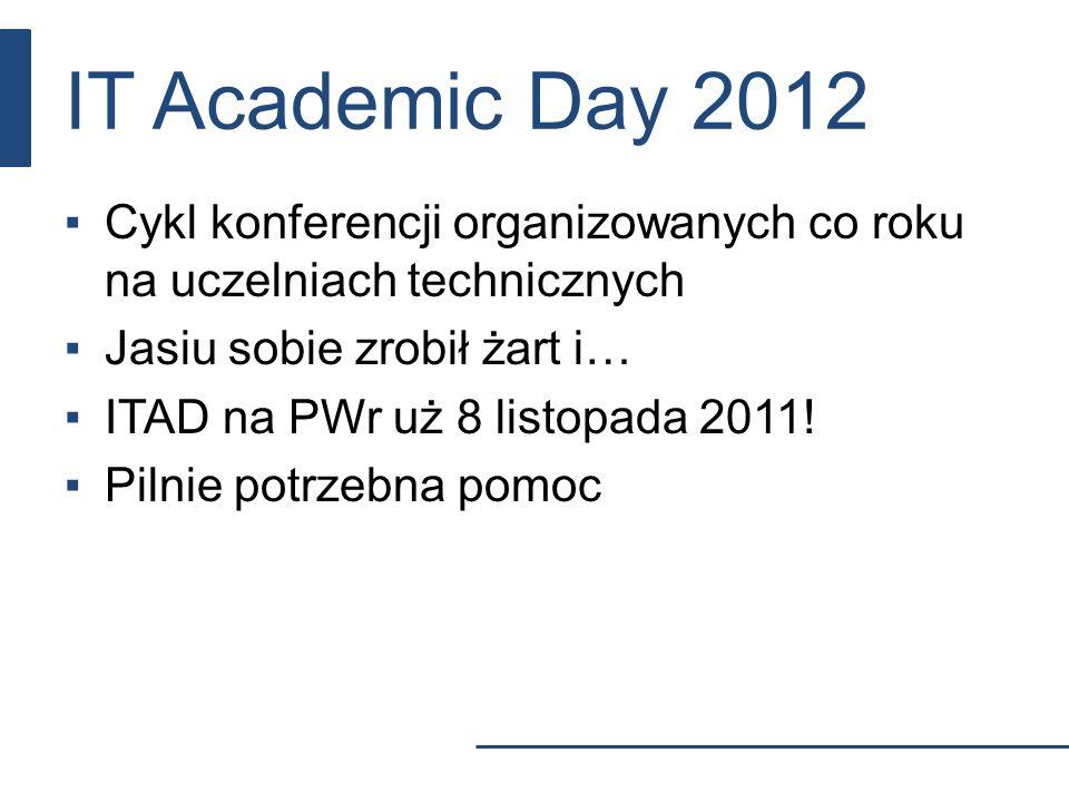 IT Academic Day 2012 Cykl konferencji organizowanych co roku na uczelniach technicznych Jasiu sobie zrobił żart i… ITAD na PWr uż 8 listopada 2011! Pi