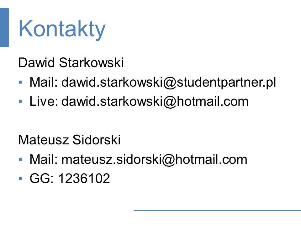 Kontakty Dawid Starkowski Mail: dawid.starkowski@studentpartner.pl Live: dawid.starkowski@hotmail.com Mateusz Sidorski Mail: mateusz.sidorski@hotmail.