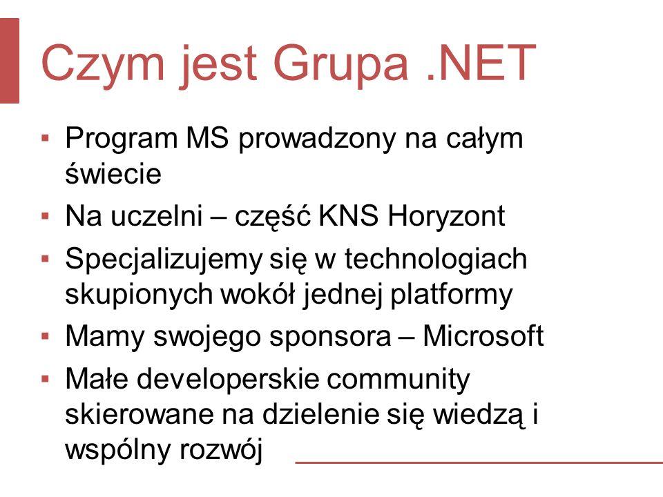 Czym jest Grupa.NET Program MS prowadzony na całym świecie Na uczelni – część KNS Horyzont Specjalizujemy się w technologiach skupionych wokół jednej