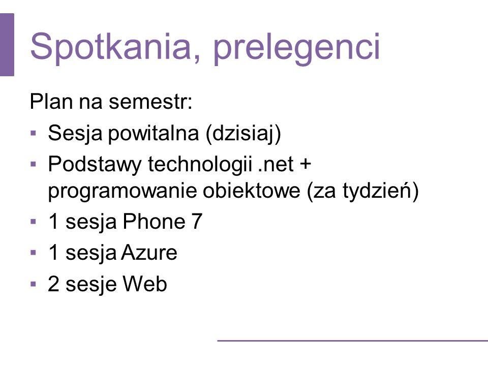 Spotkania, prelegenci Plan na semestr: Sesja powitalna (dzisiaj) Podstawy technologii.net + programowanie obiektowe (za tydzień) 1 sesja Phone 7 1 ses