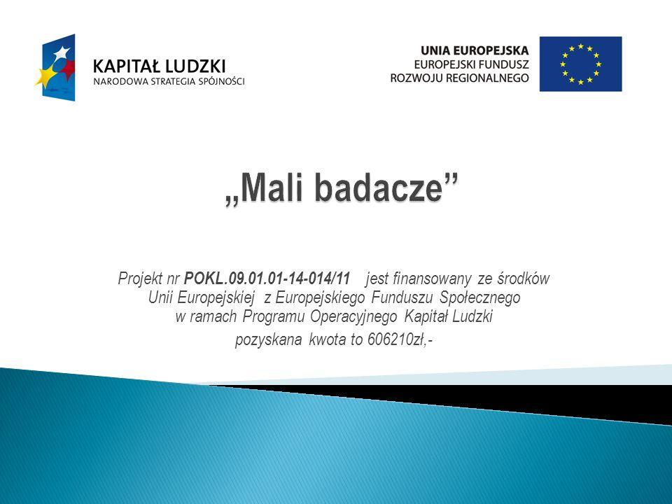 Projekt nr POKL.09.01.01-14-014/11 jest finansowany ze środków Unii Europejskiej z Europejskiego Funduszu Społecznego w ramach Programu Operacyjnego Kapitał Ludzki pozyskana kwota to 606210zł,-